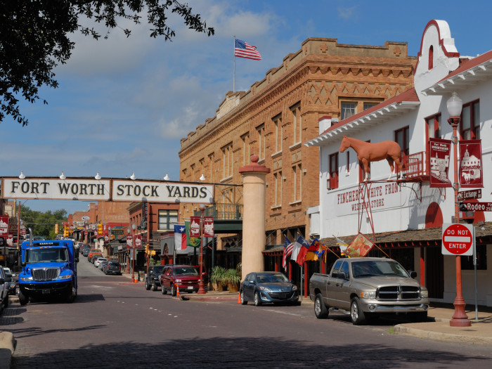 Fort Worth Stockyards Exchange Avenue - Image via Wikipedia